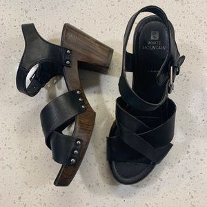 White Mountain Black and Faux Wood Sandal Heels